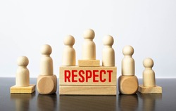 Respect word written on wood block. respect text on table, Business ethics concept