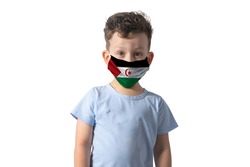 Respirator with flag of Western Sahara White boy puts on medical face mask isolated on white background.