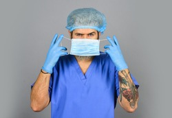 Respiratory infection. Virus infection. Risk Taker. Safety. Coronavirus epidemic. Infection incubation period. Qualified medicine staff. Doctor wear respiratory mask. Surgeon surgery operation.