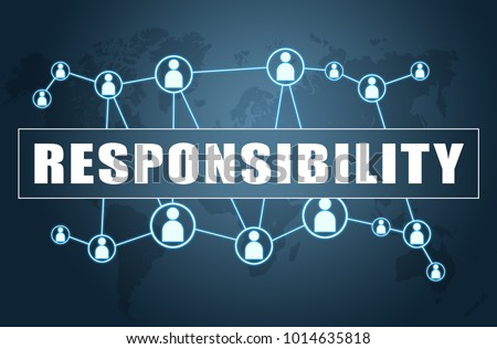 Responsibility - text concept on blue background with world map and social icons. Foto d'archivio ©
