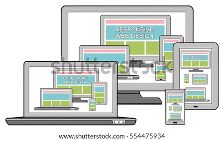 Responsive design concept on different devices, isolated on white