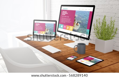 responsive design concept: view of tablet, computer, laptop and touchscreen smartphone on a desktop. 3d rendering.