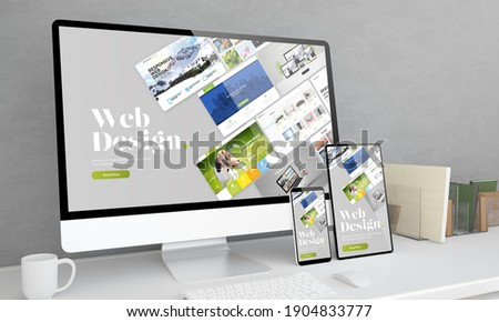 Responsive devices at office desktop 3d rendering with web design