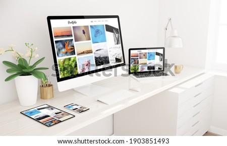 Responsive devices mock up 3d rendering showing portfolio website home