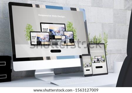 responsive devices showing responsive web design on desktop 3d rendering