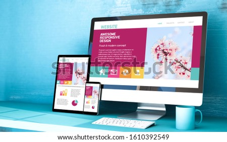 responsive devices showing website home on blue studio 3d rendering mockup Foto stock ©