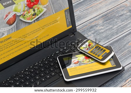 Responsive web design on mobile devices phone, laptop and tablet pc #299559932