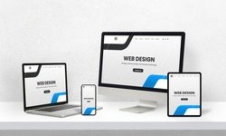 Responsive web page promotion on devices with different display sizes. Web design studio promotion concept