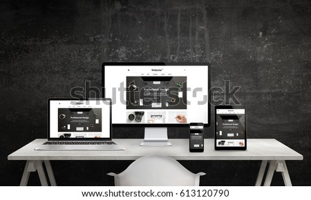 Responsive web site promotion on computer display, laptop, tablet and smart phone. Modern, clean web design. White office desk with devices, black wall in background. - Shutterstock ID 613120790
