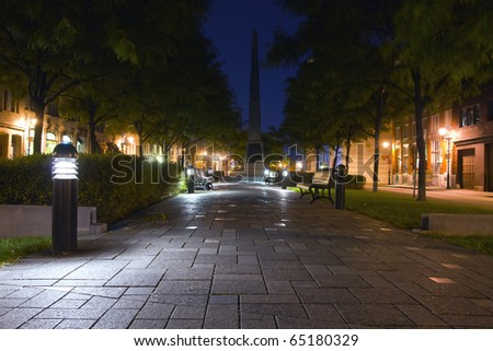 Rest area illuminated in Old Montreal at night