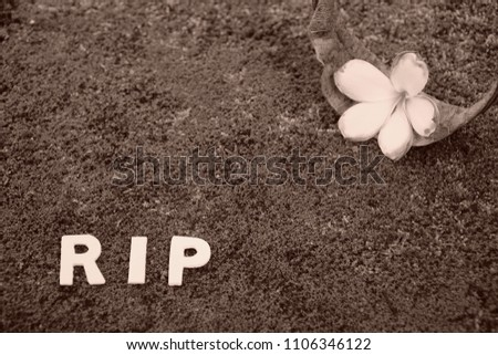 Rest in peace. Old Flower,  dried leaf of Plumeria and word
