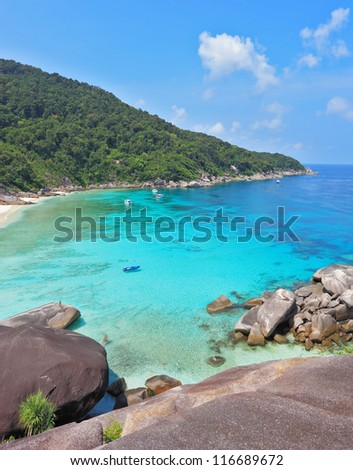 Rest on the Similan Islands, Thailand. Azure and smooth water lagoon