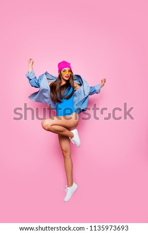 Rest relax clubbing leisure people person concept. Vertical full length size body studio photo portrait of beautiful pretty excited graceful elegant lady standing on one leg isolated bright background