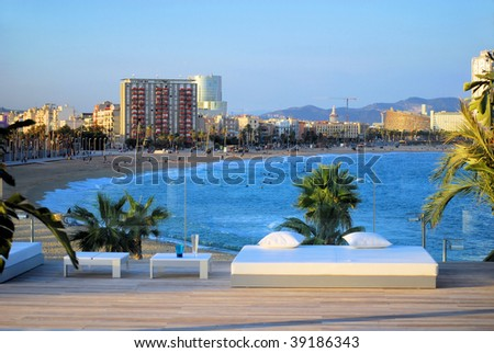 rest zone on quay and a beach of barcelona, spain, catalonia