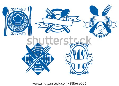 Restaurant and cafe menu icons and symbols set for food industry design isolated on white background, such  a logo. Vector version also available in gallery