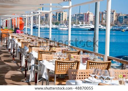 Restaurant at Barcelonas harbour