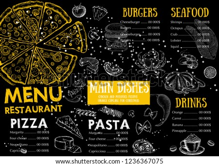 Restaurant cafe menu, template design. Food flyer. #1236367075
