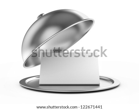 Restaurant cloche with a paper template for inscriptions. 3d image