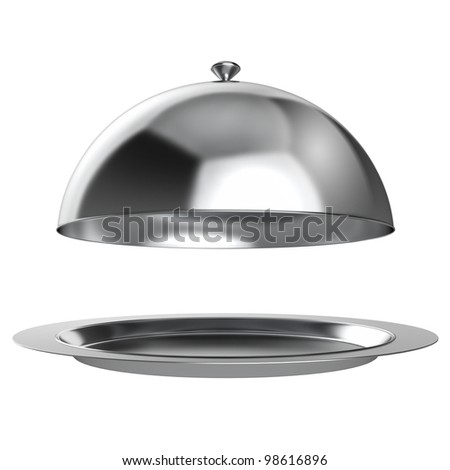 Restaurant cloche with open lid