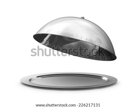 Restaurant cloche with open lid. 3d illustration #226217131