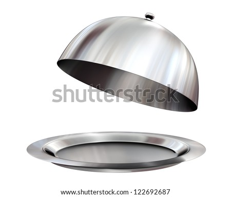 Restaurant cloche with open lid - isolated on white