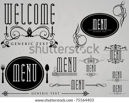 Restaurant coffee shop menu calligraphic elements