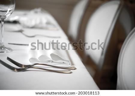 Restaurant Dinner white place setting  #203018113