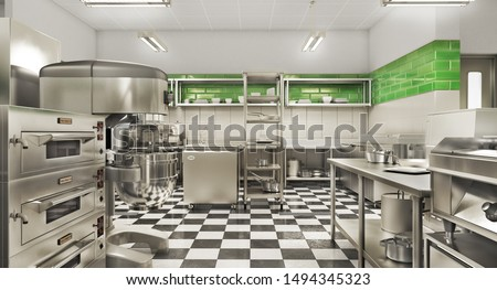 Restaurant equipment. Modern industrial kitchen. 3d illustration Stock photo ©