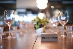 Restaurant fine dining reserved table sign
