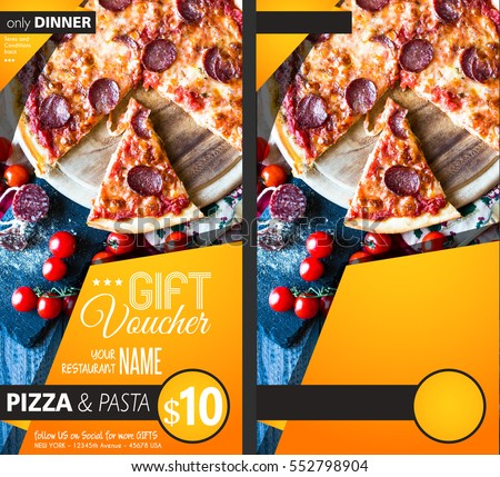 Restaurant Gift voucher flyer template with delicious taste pepperoni cheese pizza and space for your text. #552798904