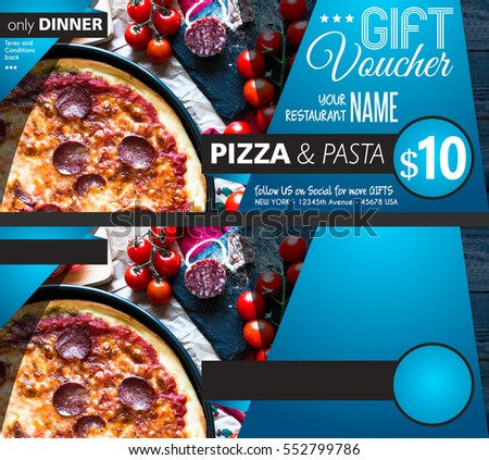 Restaurant Gift voucher flyer template with delicious taste pepperoni cheese pizza and space for your text. #552799786