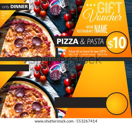 Restaurant Gift voucher flyer template with delicious taste pepperoni cheese pizza and space for your text. #553267414