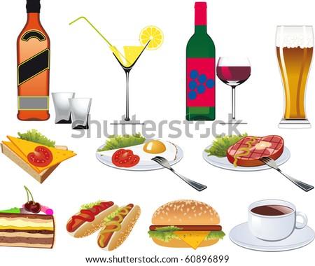 Restaurant Icons set for Menu isolated on white. Raster Version