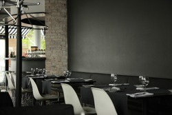 restaurant interior background, dark wall