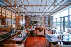 Restaurant interior, part of hotel, Asian Zen&Chinese style design.