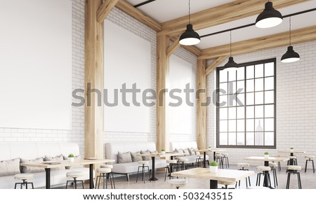 Restaurant interior with sofas, chairs and tables. Concept of eating in public places. 3d rendering. Mock up.