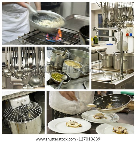 Restaurant kitchen collage