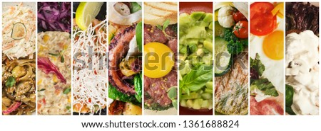 Restaurant menu. Collage of delicious gourmet food
