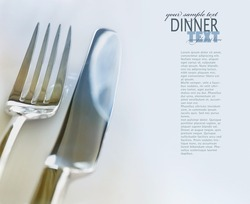 Restaurant Menu food series with copyspace. Fork and knife in elegant table setting