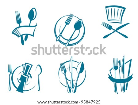 Restaurant menu icons and symbols set for food industry design, such  a logo