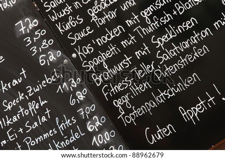 Restaurant menu in German - outdoor bar in Vienna, Austria