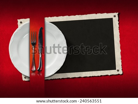 Restaurant Menu with Photo Frame. Empty photo frame with empty white plate and silver cutlery on red velvet background. Template for an elegant restaurant menu