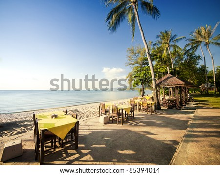 Restaurant on a beach of the Koh Samui island in Thailand. - stock photo
