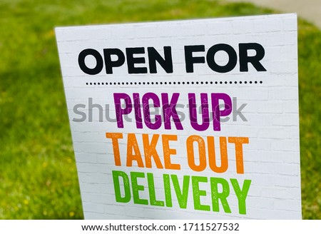 Restaurant Open for Take Out Delivery and Online Order Pickup Banner Sign Сток-фото ©