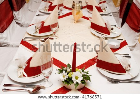 Restaurant party table with served settings