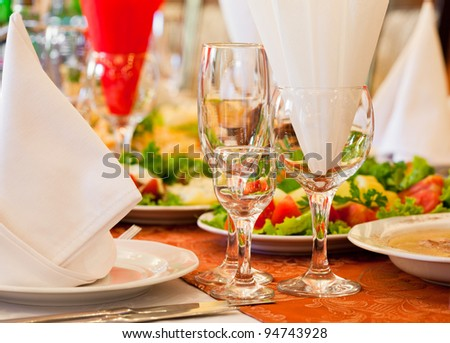 Restaurant's table prepared for celebrating event