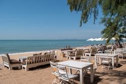 Restaurant sea beach side at Pattaya sea beach with blue sky background, Sea view from tropical beach, Outdoor travel, Chonburi ,Thailand