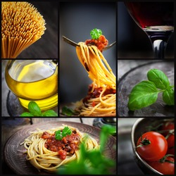 Restaurant series. Collage of pasta with tomato sauce and olives. Italian cooking with Spaghetti, ingredients, basil, wine and olive oil