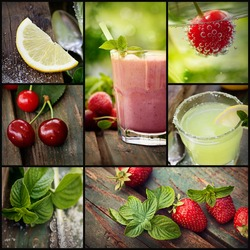 Restaurant series. Collage of summer Fruit drinks. Strawberry smoothie, lemonade and chery fizzy drinks with tropical fruit.