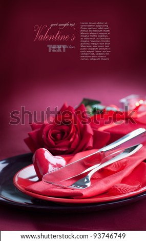 Restaurant series. Valentine' day   dinner with table setting in red and holiday elegant  heart ornaments